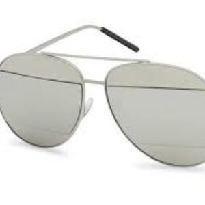 Kiss Accessories - CUT-OUT MIRRORED AVIATOR SUNGLASSES SILVER NEW